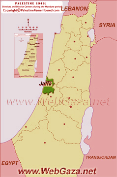 District of Jaffa - One of the Palestine Districts-1948, find here important information and profiles from District of Jaffa (Yaffa).
