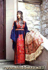El Khalil Dress - A Dress from El Khalil with a rare early 20th century (Ghudfeh) scarf, District of Hebron (Al-Khalil).