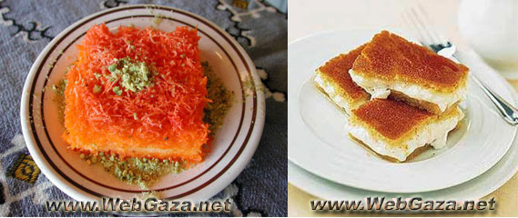 Knafeh - Shredded fillo dough , milk or creme custard filling , topped with pistachios and a sweet syrup coat this famous Middle Eastern dessert.